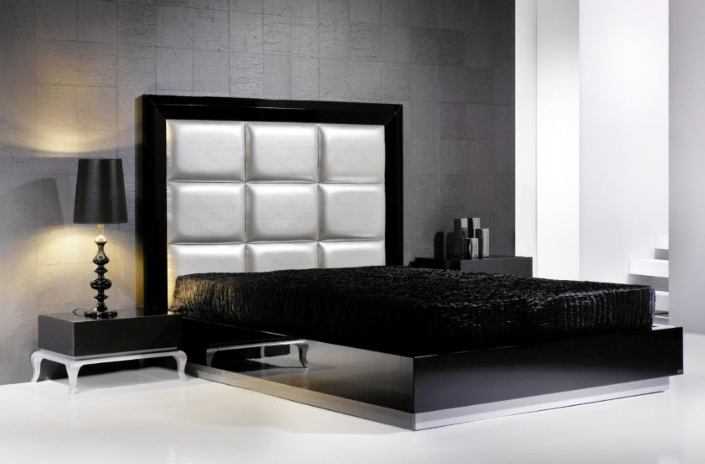 Bedroom: Modern White Headboard And Floating Bed Design Solid Black ...