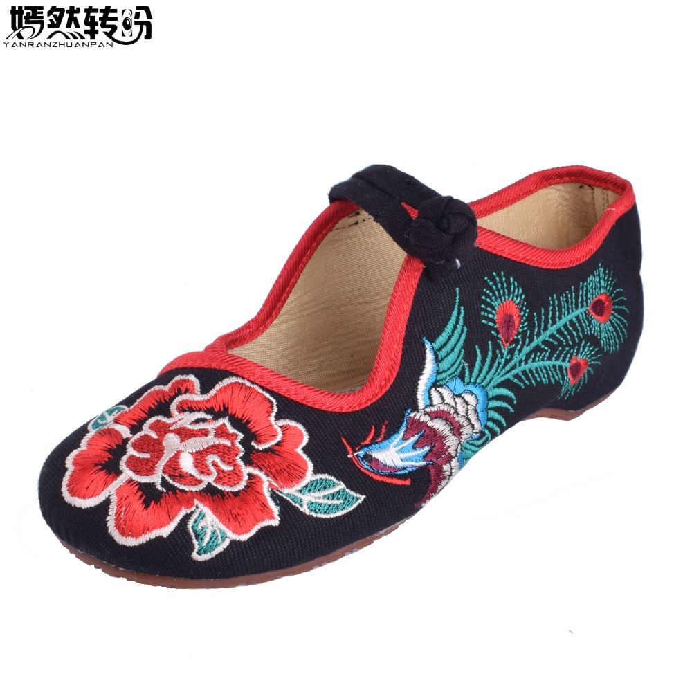 Chinese Women Flats Shoes Old Peking Mary Jane Phoenix Rose Embroidery Soft  Sole Zapatos De Mujer c88f3c22ac86