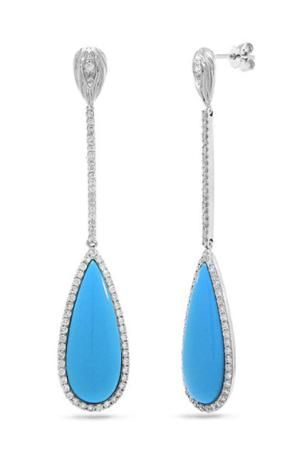 Gorgeous Turquoise Jewelry Gifts for Her: The Splurge Gift: 14K 10.32ct Turquoise and Diamond Dangle Earrings