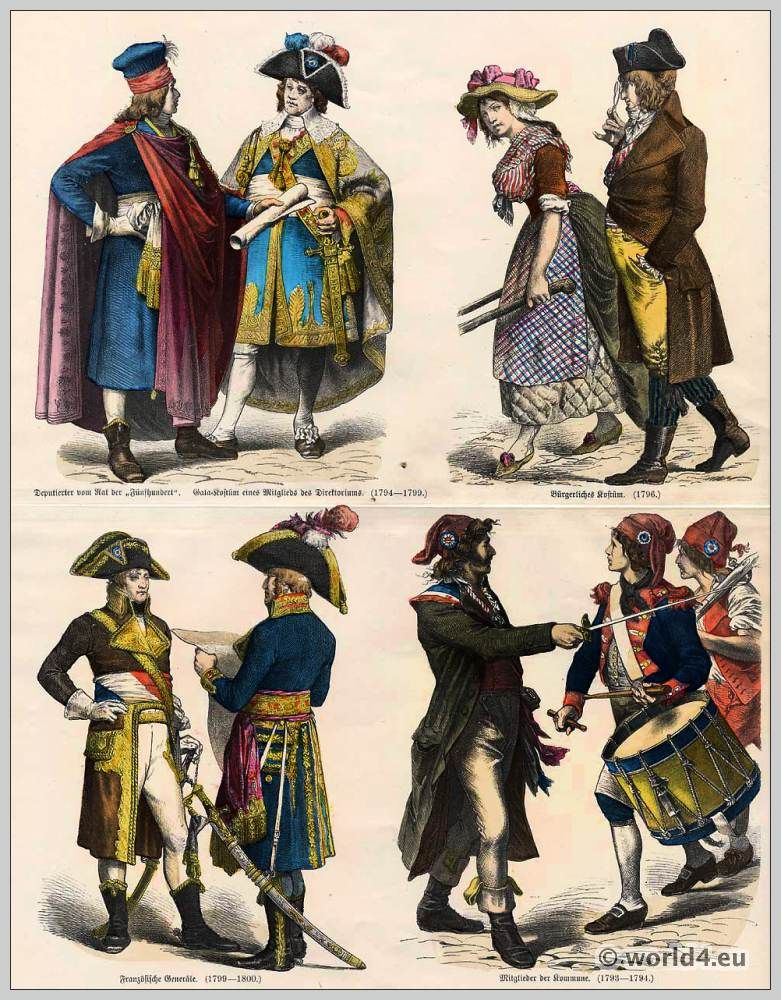 French Revolution Costumes. Directoire Gala costume. Civil French Costumes. French generals uniform. Members of the Paris Commune. Council of Five Hundred. & History of costumes. From Ancient until 19th c | French revolution ...