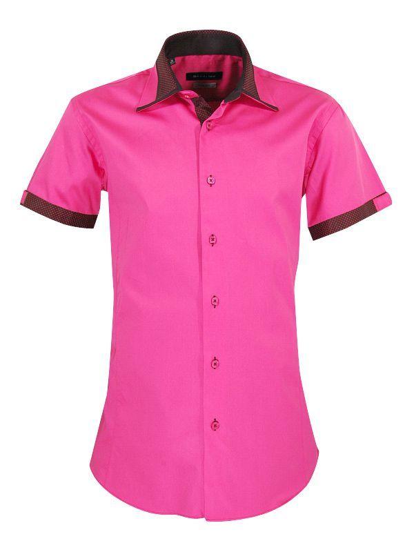 chemise manches courtes rose fushia noir chemise homme. Black Bedroom Furniture Sets. Home Design Ideas