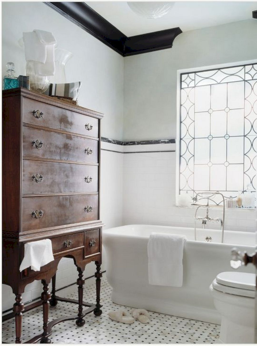 Top 25+ Modern Vintage Bathroom Design And Decor Ideas is part of Top  Modern Vintage Bathroom Design And Decor Ideas - There are some people who use their bathroom for a place to read their favorite books or newspapers, thinking about the peace and quiet that you receive from the place  There's a lot you can do in order to your bathroom by employing ceramic tiles  The bathroom should be an area of comfort  A bathroom is full of moisture, and you require very good ventilation  If you would like to revitalize your bathroom without remodeling the entire room, here are a few design ideas which will surely earn a difference  If you want to remodel your bathroom, you can require