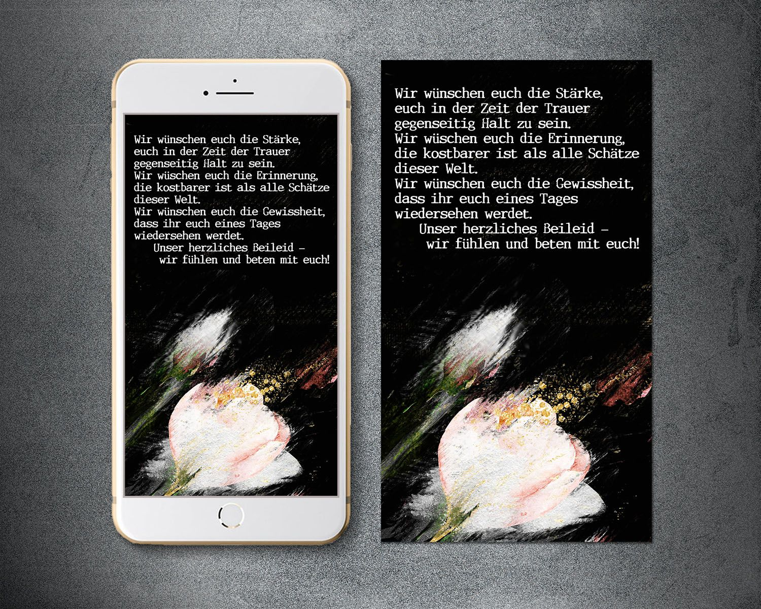 Electronic sympathy card smartphone phone sms loss of