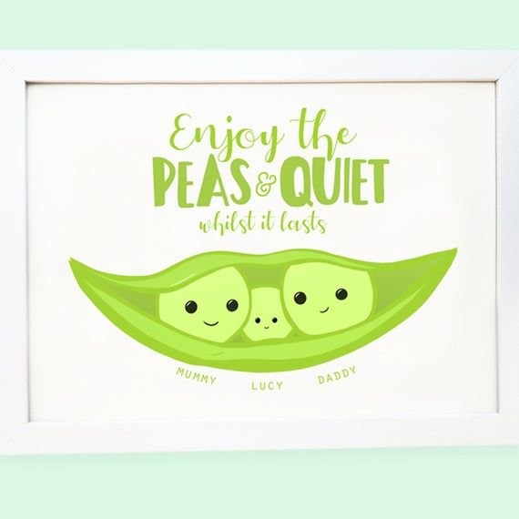 Cute baby shower print - peas in a pod - Personalised First Father's Day Gift - Peas and Quiet - New dad gift from daughter - from bump #mumsetc