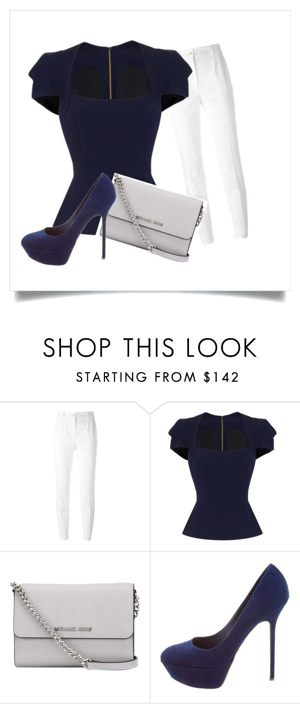 """Navy and White"" by retrochic394 ❤ liked on Polyvore featuring Dolce&Gabbana, Roland Mouret, MICHAEL Michael Kors and Sergio Rossi"