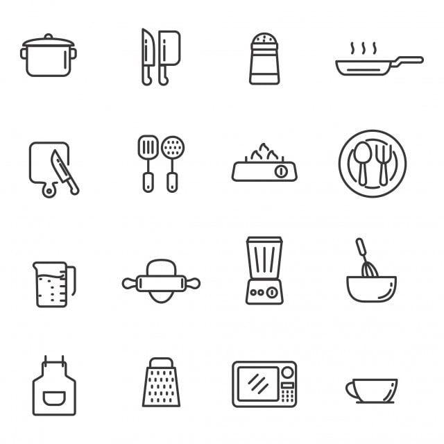 Conjunto De Ferramentas De Cozinha Ilustracao Vetorial Com Icone De Ferramentas De Cozinha De Design De Linha Simples Cozinha Icone Linha Imagem Png E Vetor Kitchen Icon Vector Illustration Line Design