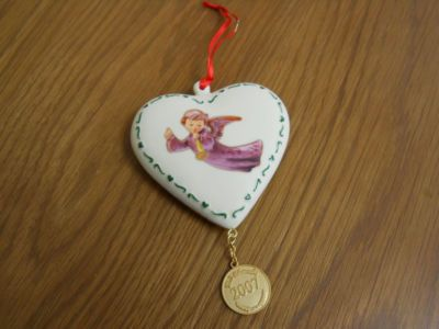 Hummel Figurines..flying angel heart christmas tree ornament