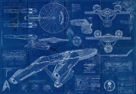 Star Trek Enterprise New - USS 1701 Blueprint Art Print ( Enterprise - new enterprise blueprint apple