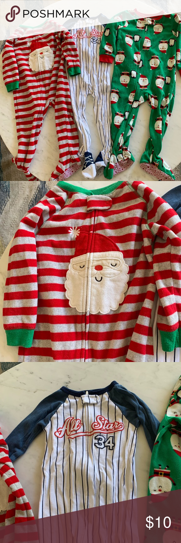 3 For 10 Sale Baby Boy S Pajamas 24mo 2t Three Pairs Of Baby Pajamas The Two Holiday Jammies Are 2t And The Ba Baseball Outfit Baby Boy Pajamas Pajamas