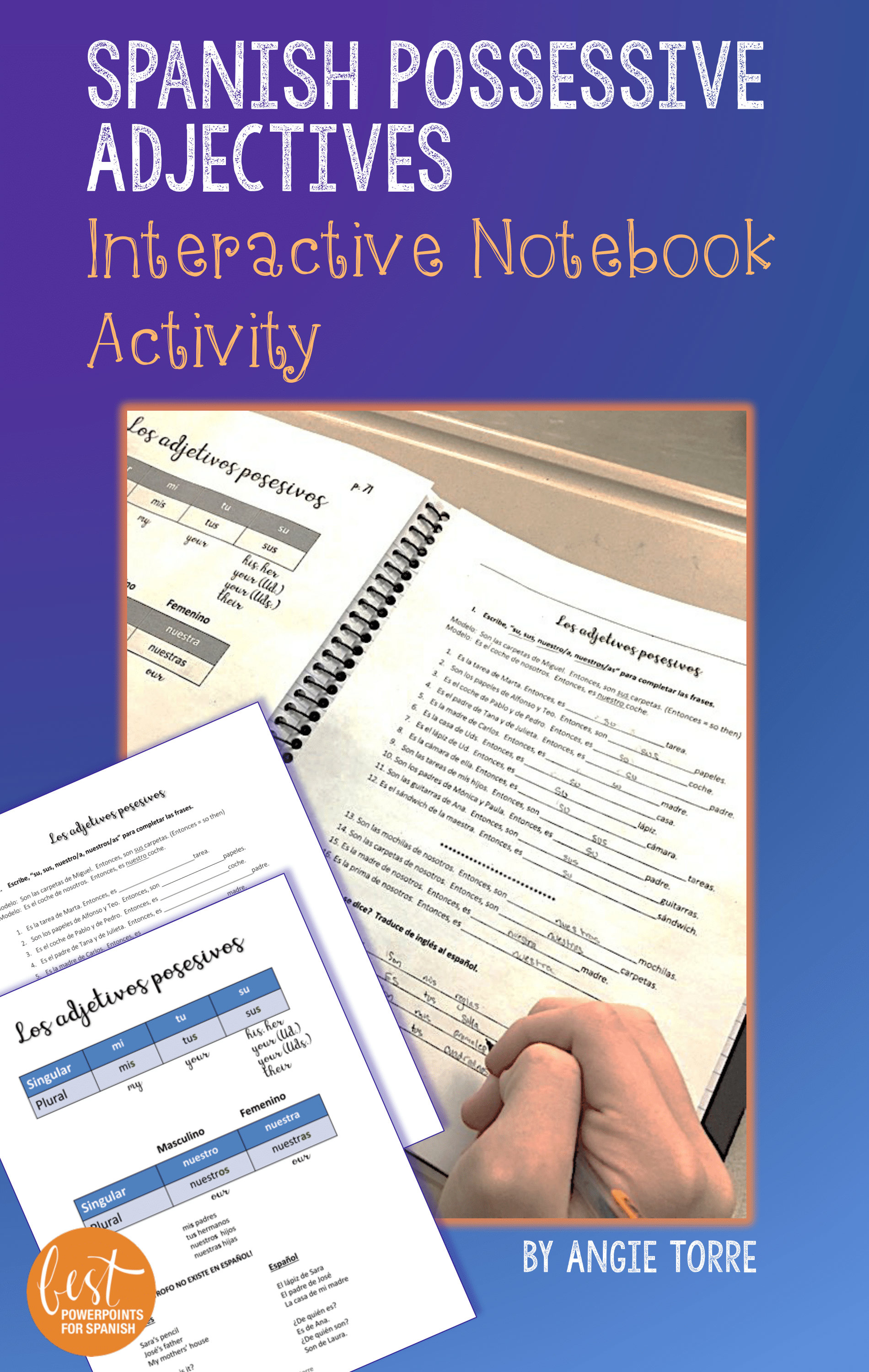 Spanish Possessive Adjectives Interactive Notebook Activity
