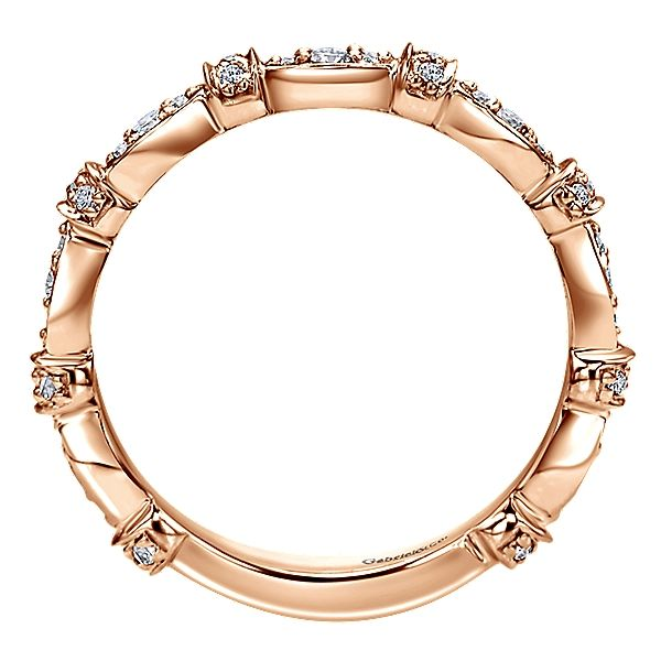 14k Pink Gold Stackable Style  Stackable Ladies' Ring With  Diamond