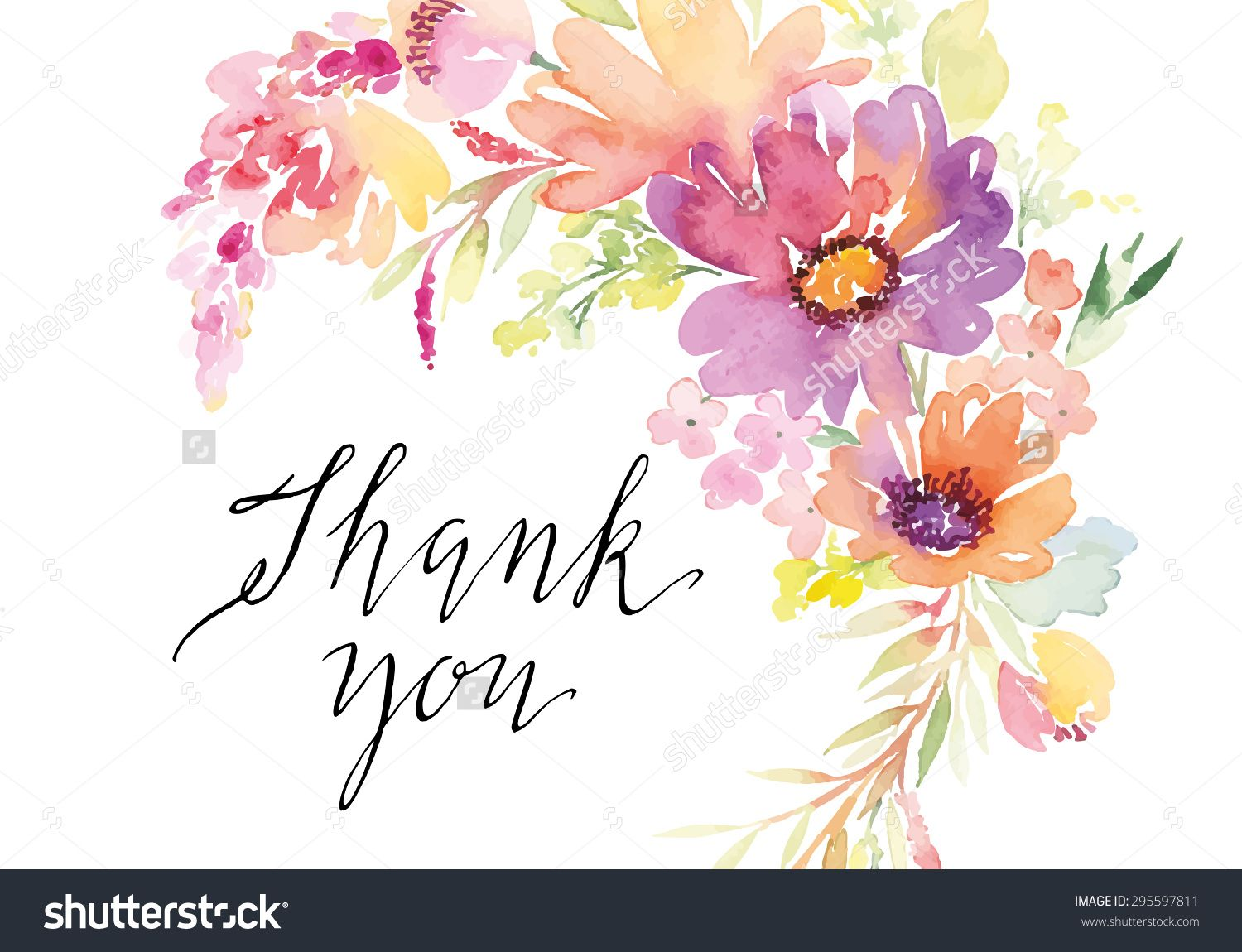 Stock vector watercolor greeting card flowers handmade thank you illustration of watercolor greeting card flowers vector art clipart and stock vectors kristyandbryce Images