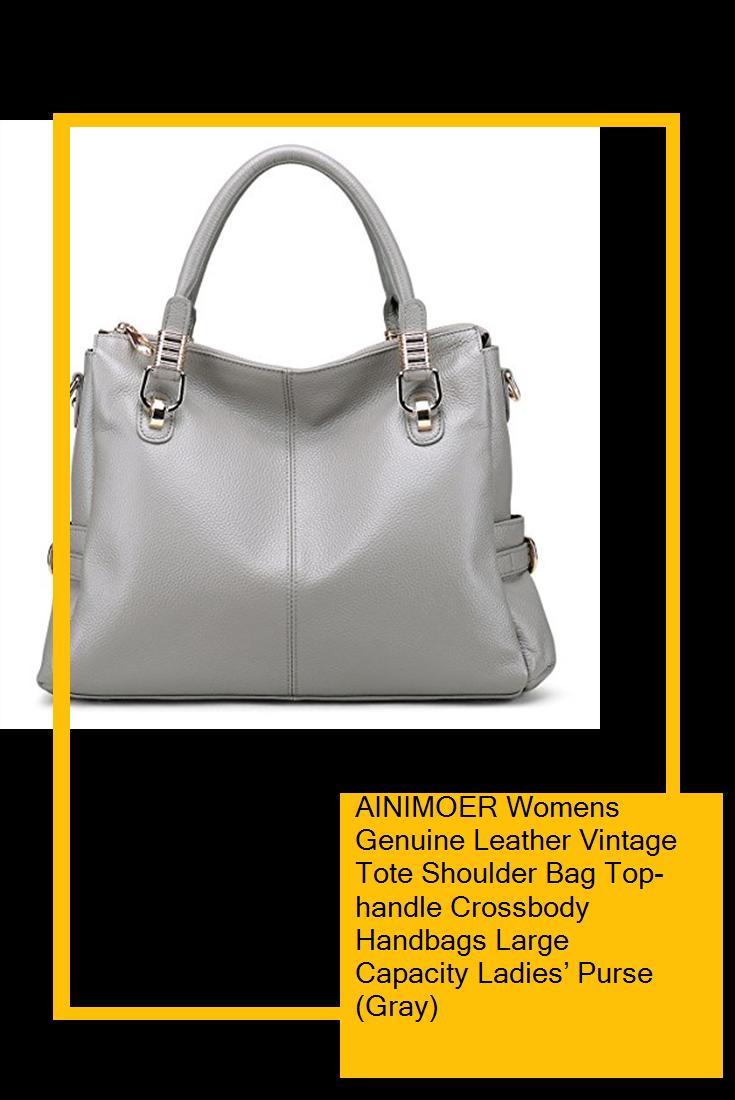 964fe9dfde AINIMOER Womens Genuine Leather Vintage Tote Shoulder Bag Top-handle  Crossbody Handbags Large Capacity Ladies