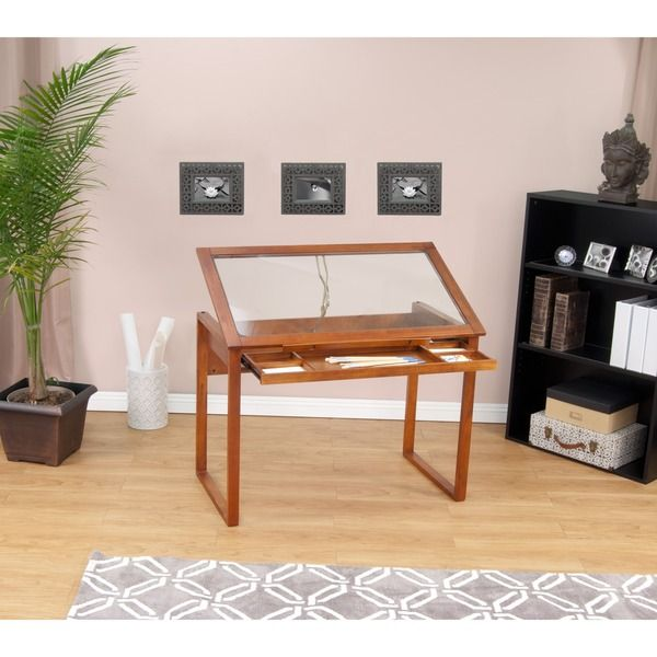House · Studio Designs Ponderosa Glass Top Solid Wood Drafting And Hobby Craft  Table ...