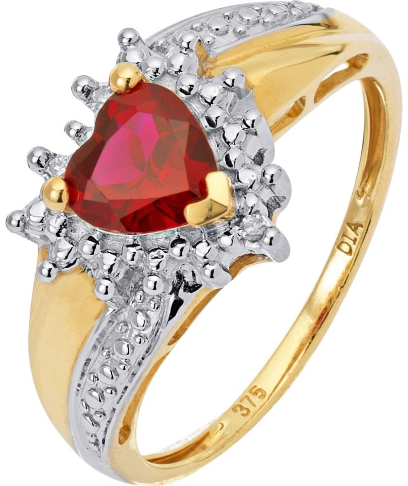 Buy 9ct Gold Created Ruby And Diamond Heart Ring At Argos Co Uk