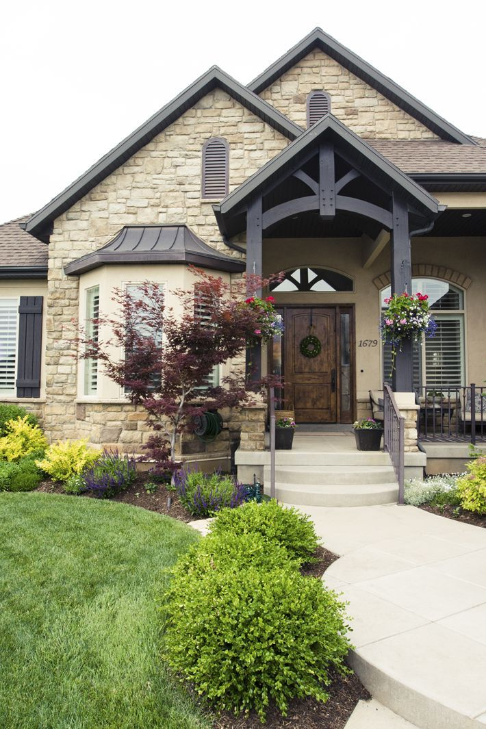 Home Ideas Exterior Homes And House Beautiful: Love Everything About This Exterior! Love The Beams, The Stone, The Exterior Paint, The Railing