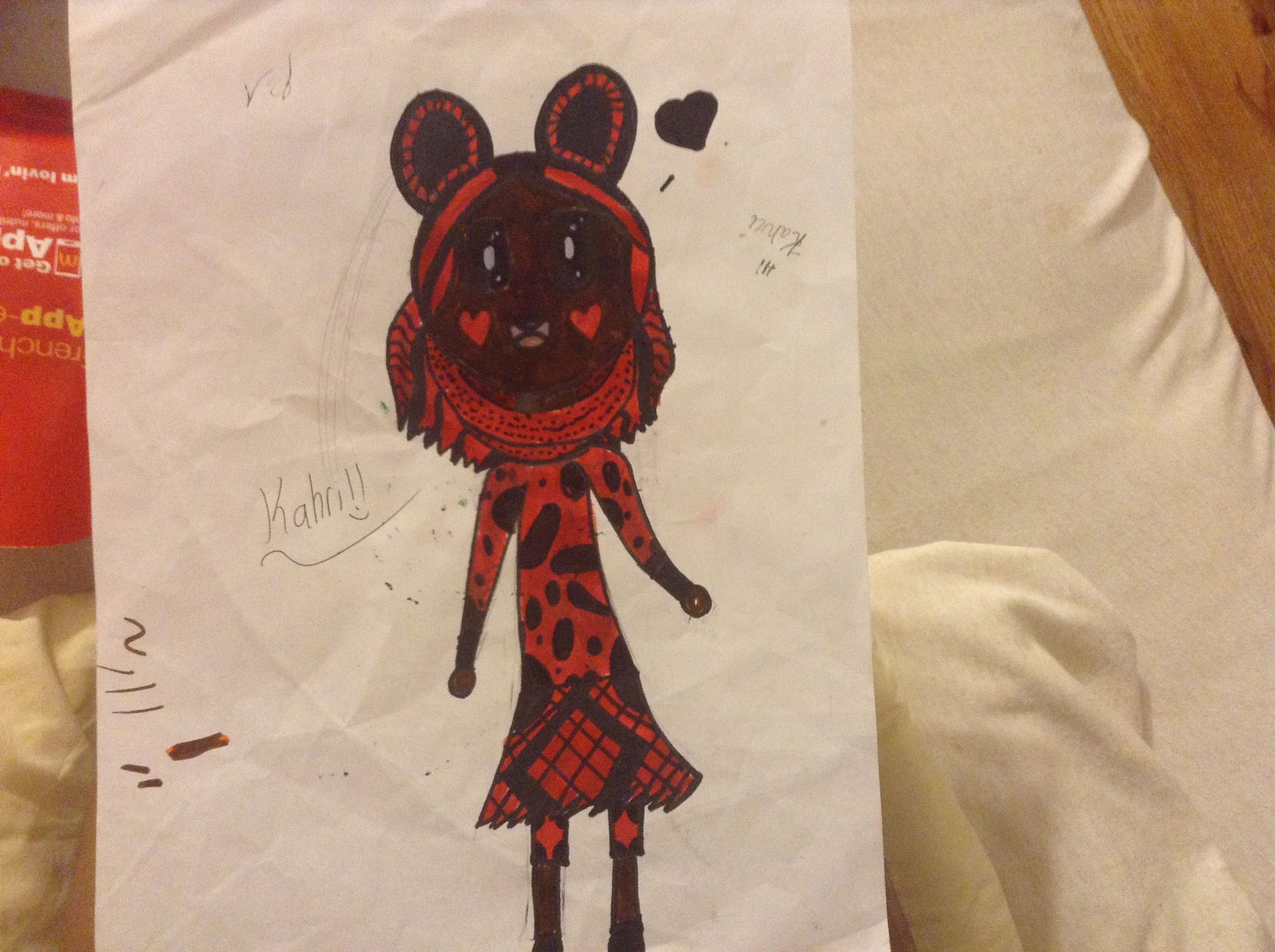 I was challenged by my friend to draw something hing only using red and black here's the outcome after I colored it:3