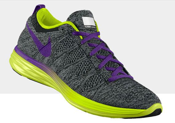 0bac7db75944 Youth Big Boys Nike Flyknit Lunar2 Youth Big Boys NikeID Obsidian Volt  Violet