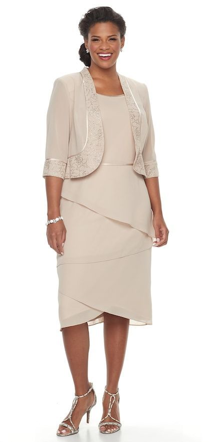 Le Bos Plus Size Tiered Shift Evening Dress Jacket Set