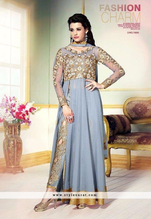 76f99f306 Gorgeous Grey Georgette Pant Style Salwar Kameez | Salwar Suit ...