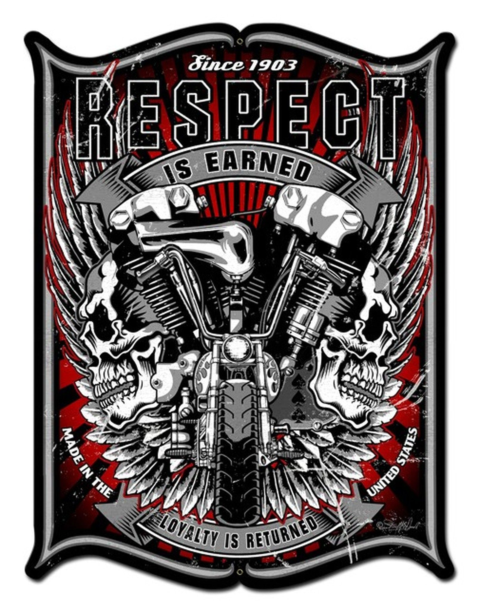 Respect Metal Sign 24 x 33 Inches Harley davidson