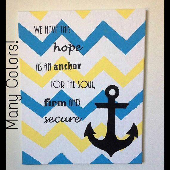 Chevron Anchor Canvas Wall Art Artwork By Thesistercraft On Etsy 12 00 Custom Wall Art Anchor Canvas Diy Art