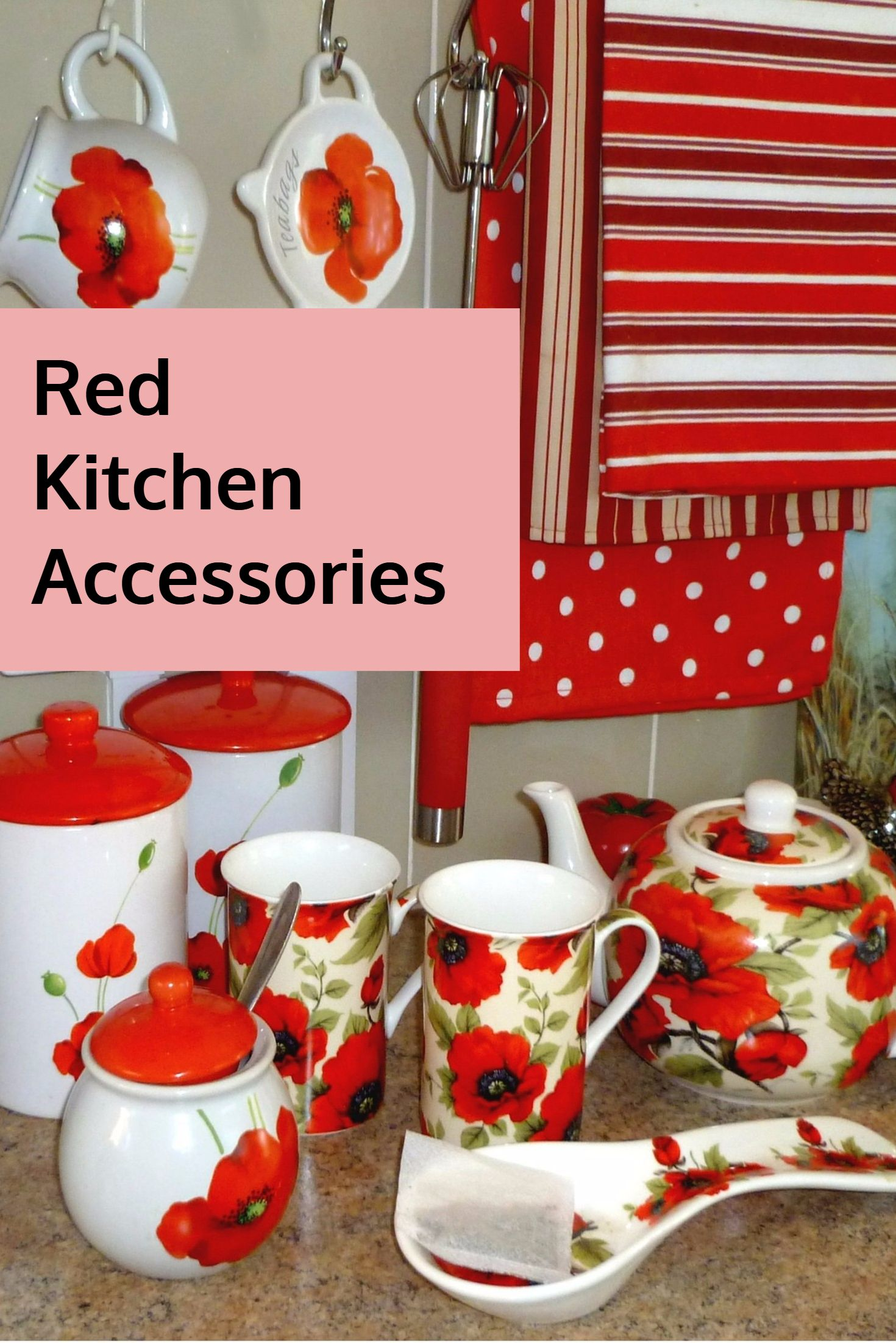 Red Kitchen Accessories. Red Poppy Themed Kitchen Accessories.