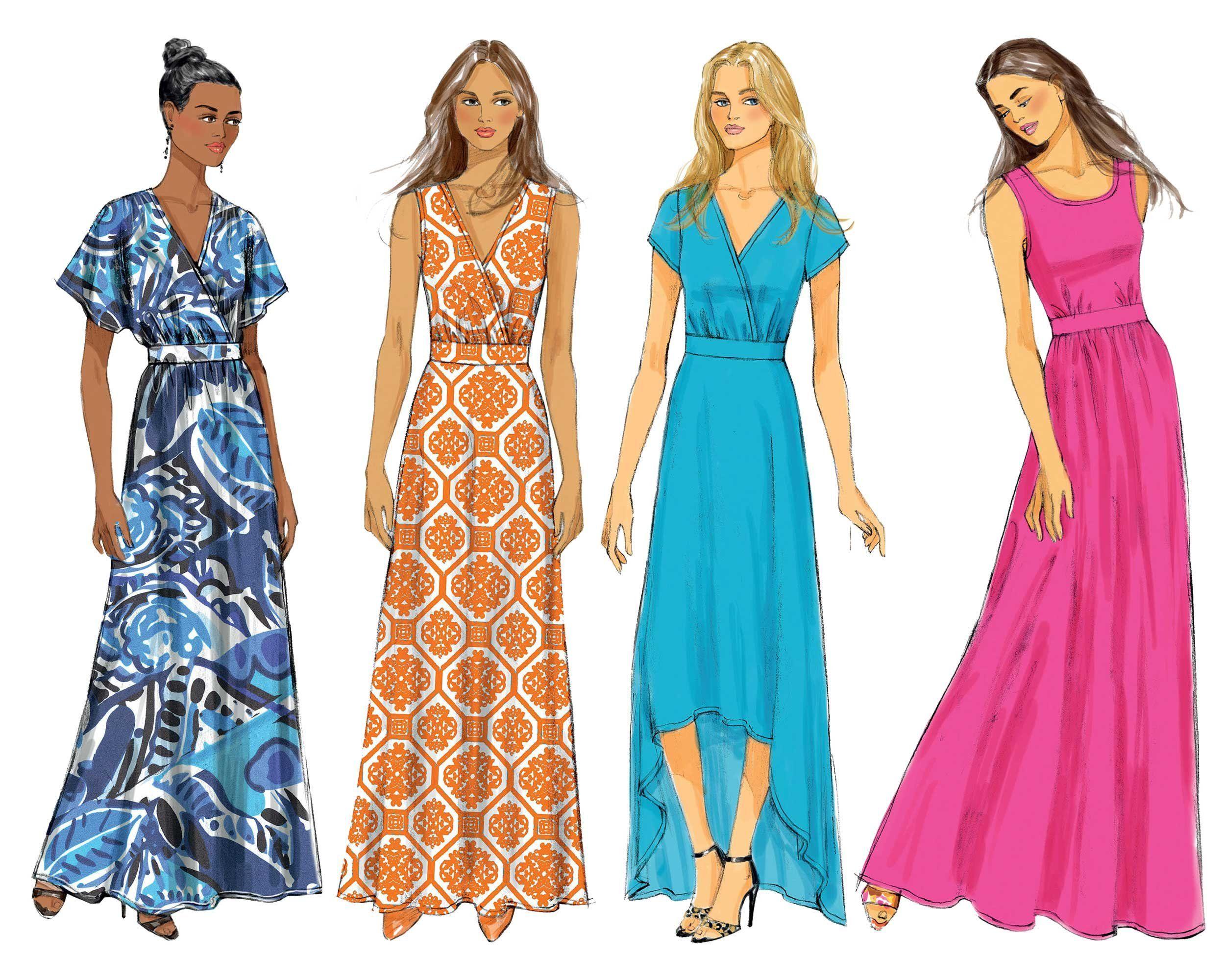 Easy maxi dress pattern long tank or surplice v neck dress with hi