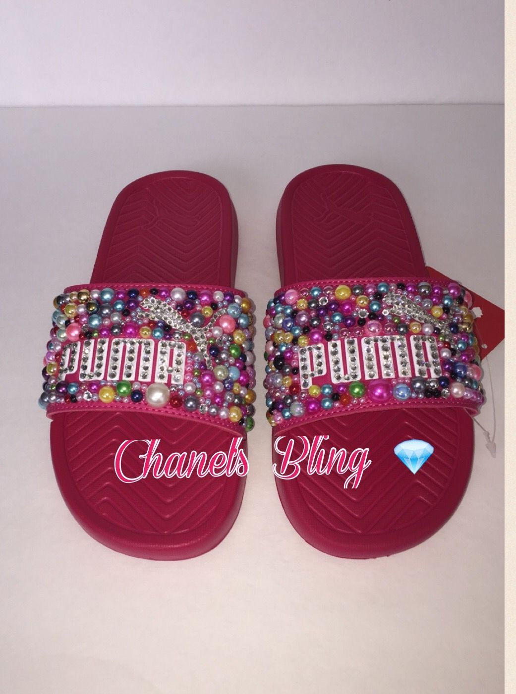 Custom bling puma flip flop slides  9b0efa362