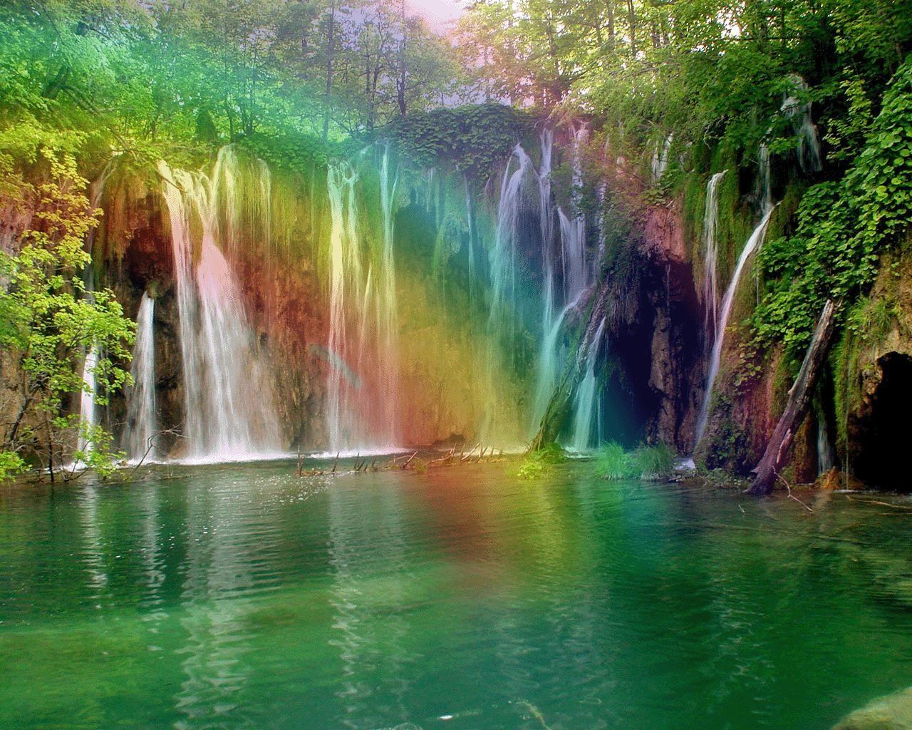 Rainbow Waterfall Waterfall Nature Rainbow Sky Trees Waterfall Rainbow Waterfall Waterfall Beautiful Waterfalls