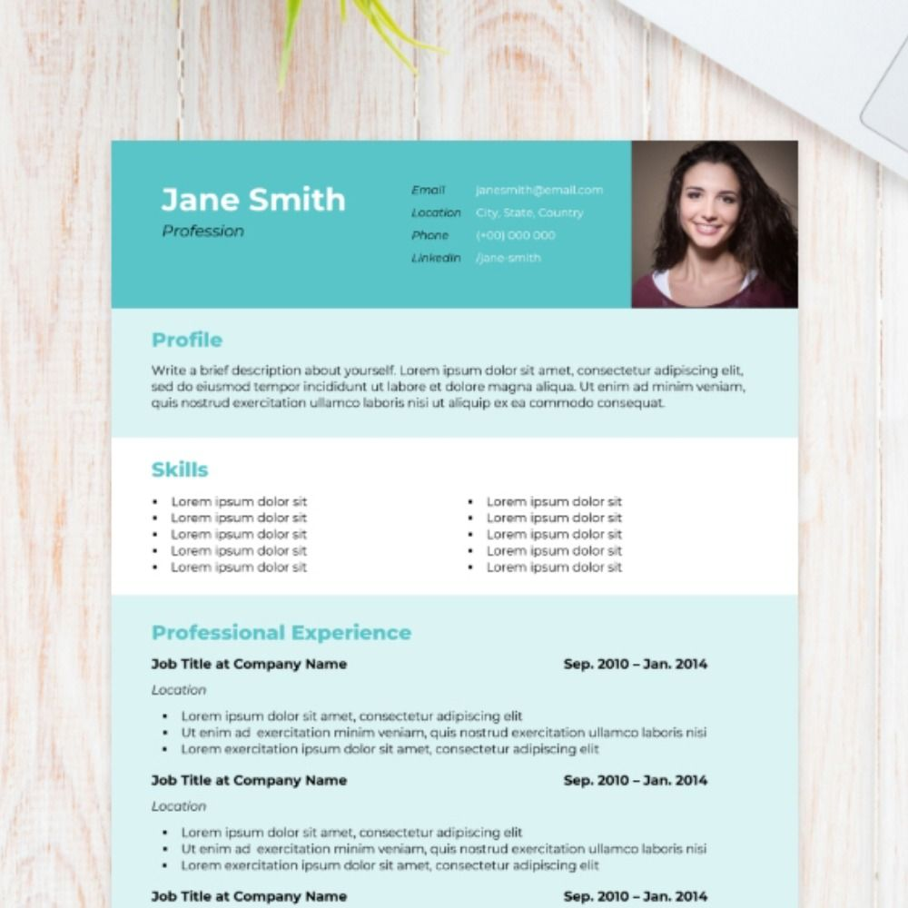 Using a combination of block colours, this resume template