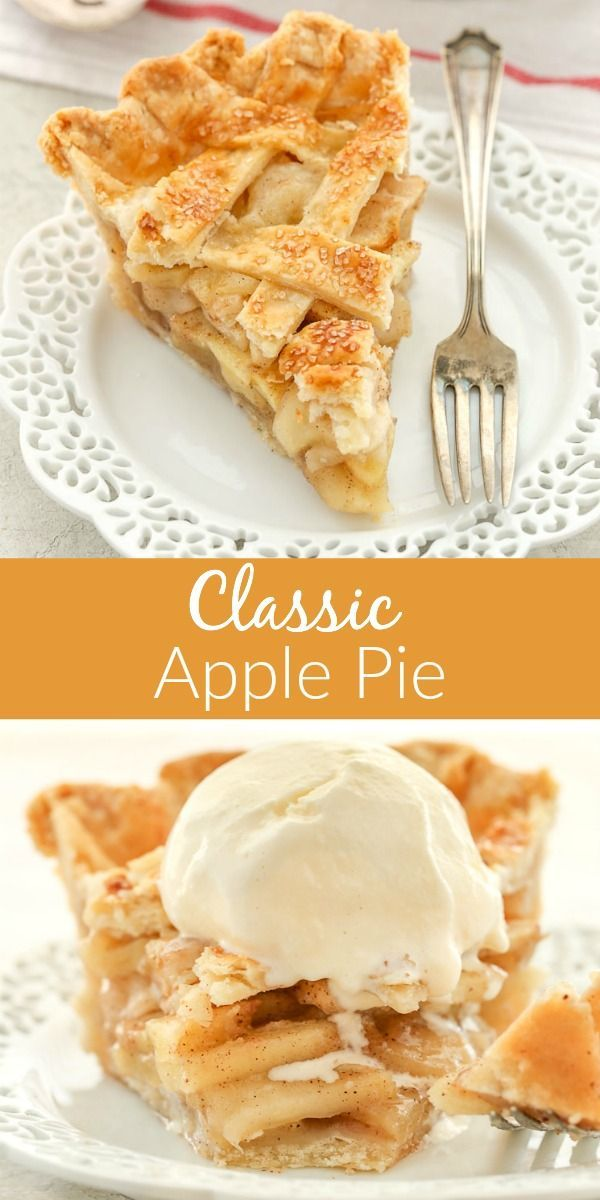 This classic homemade apple pie features a sweet apple filling packed inside a delicious flaky pie crust. The filling is easy to put together with thinly sliced apples, nutmeg, flour, cinnamon and two sugars. Put this delicious filling between two pie crusts, and the result is  . . .  the perfect pie for fall or the holiday season!