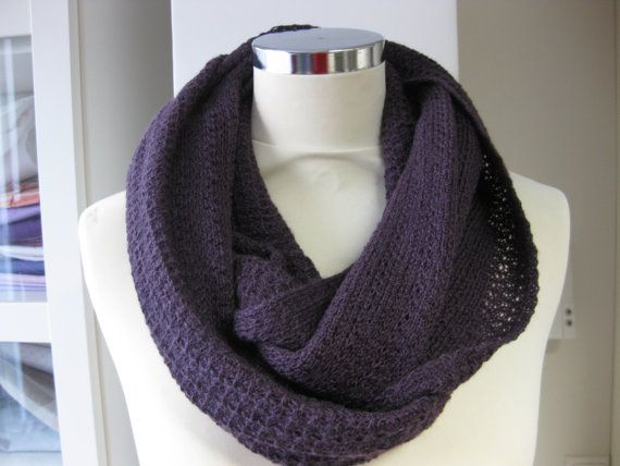 Cowl knitted with Rowan lace yarn, machine knitted in a tuck pattern