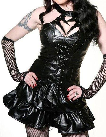 Insomnia Exclusive Lingerie Boutique | Fashion Cool Faux-leather Club Dress with Corset-Black