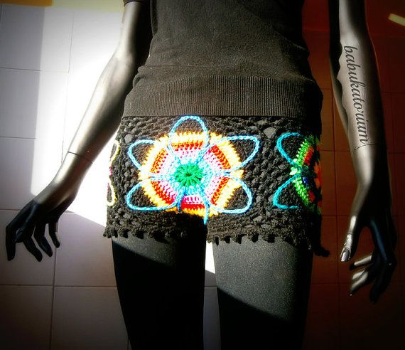 Crochet Shorts  Eclectic Flowers by babukatorium