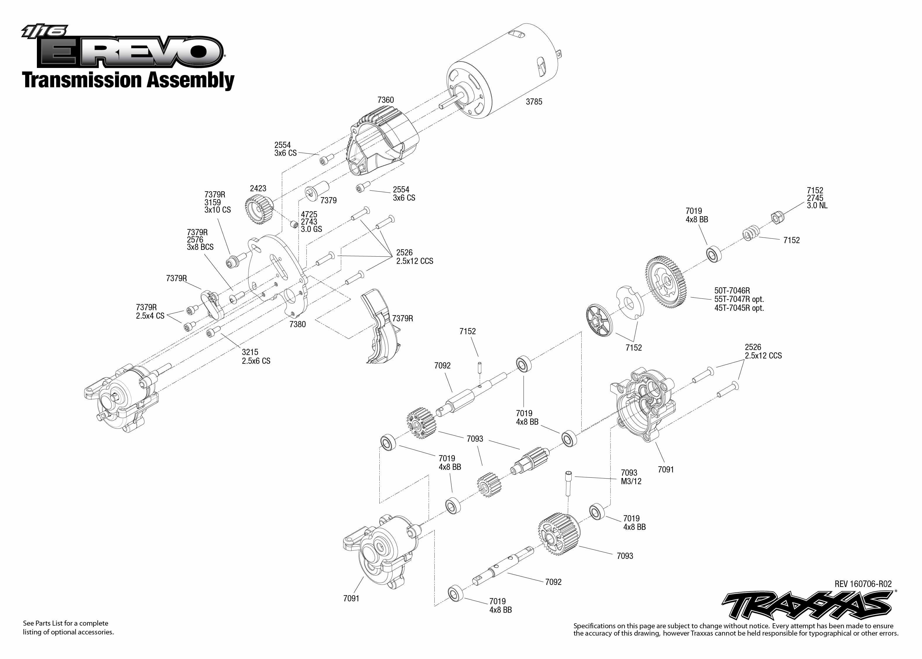 1 16 E Revo 1 Transmission Assembly Exploded View