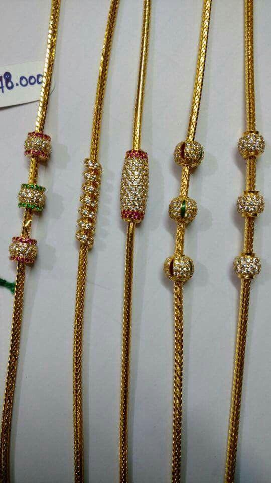 1cb00e42b8 Thank chain designs   Black beaded jewelry in 2019   Gold chain ...