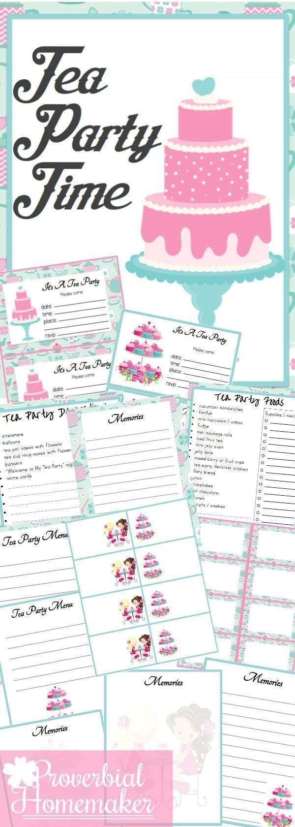 tea party printable pack fun printables party printables tea rh pinterest com