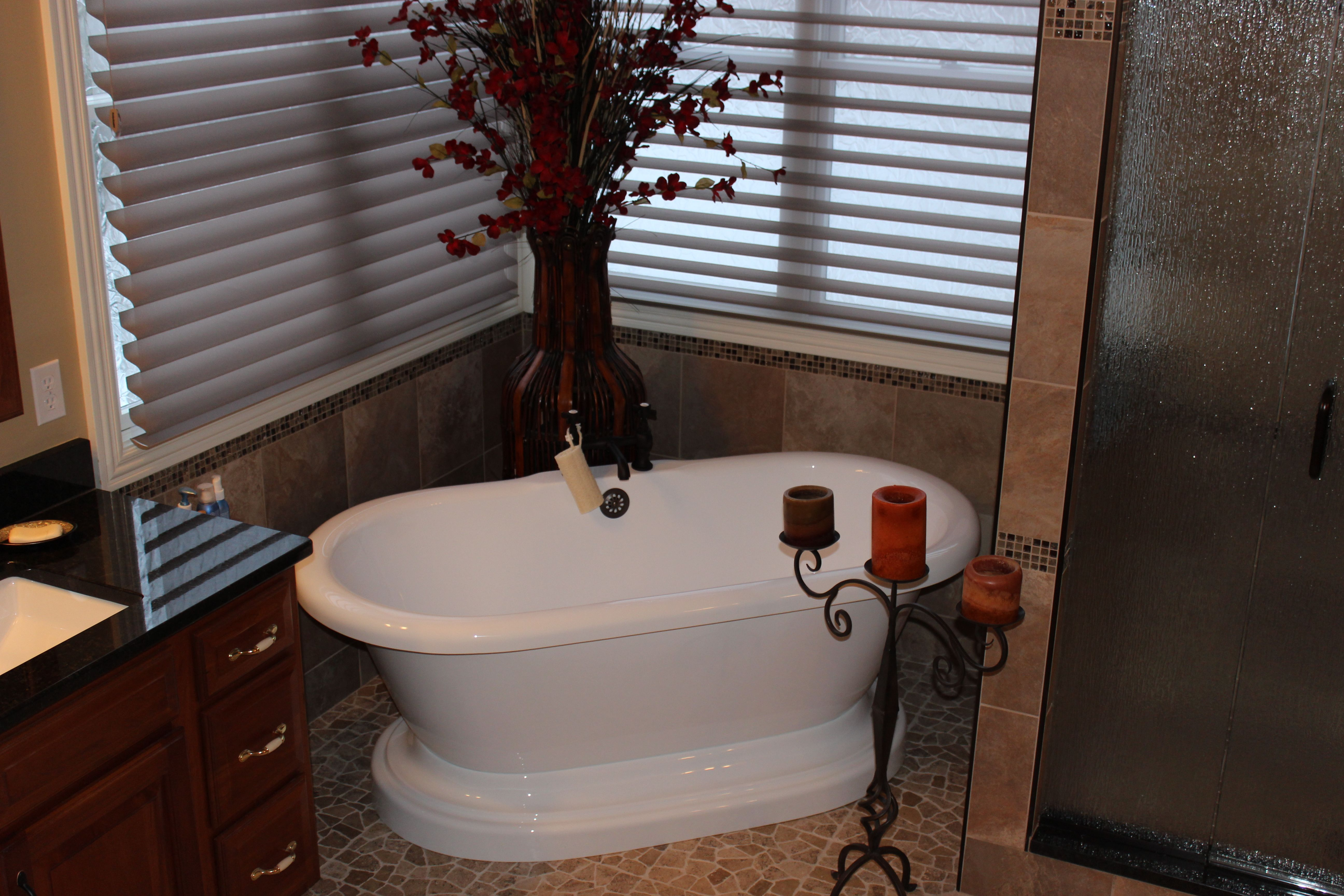 After removal of the existing cast iron tub we installed