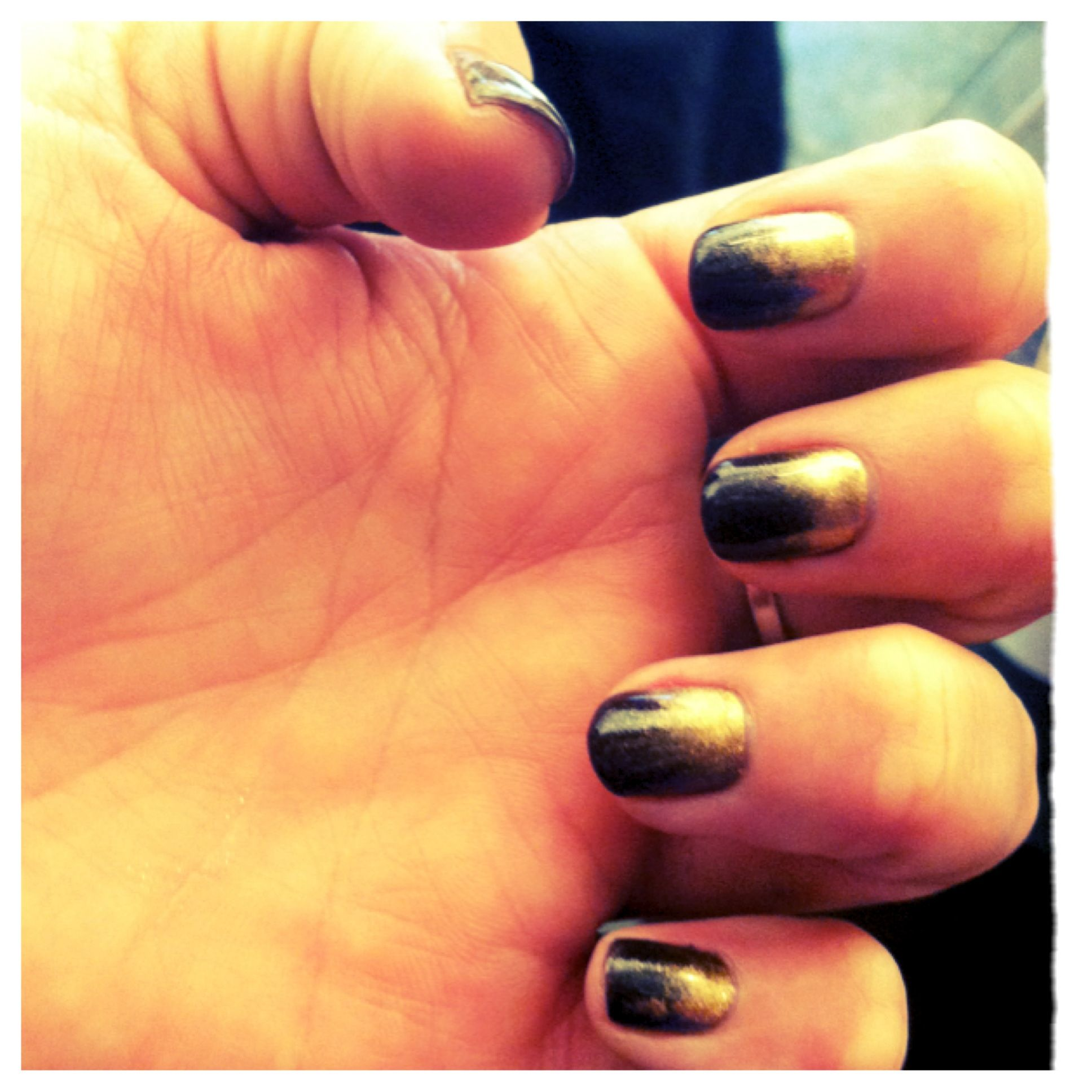Two Tone Nail Polish Fade: CND Shellac Color Fedora With Antique Bronze Additives