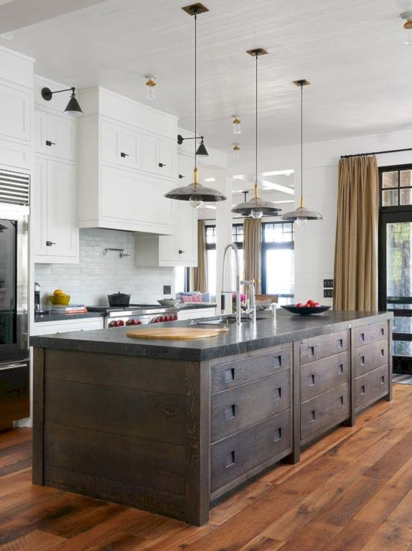 54 Stunning White Kitchen Cabinets with Dark Brown Island | Dark ...