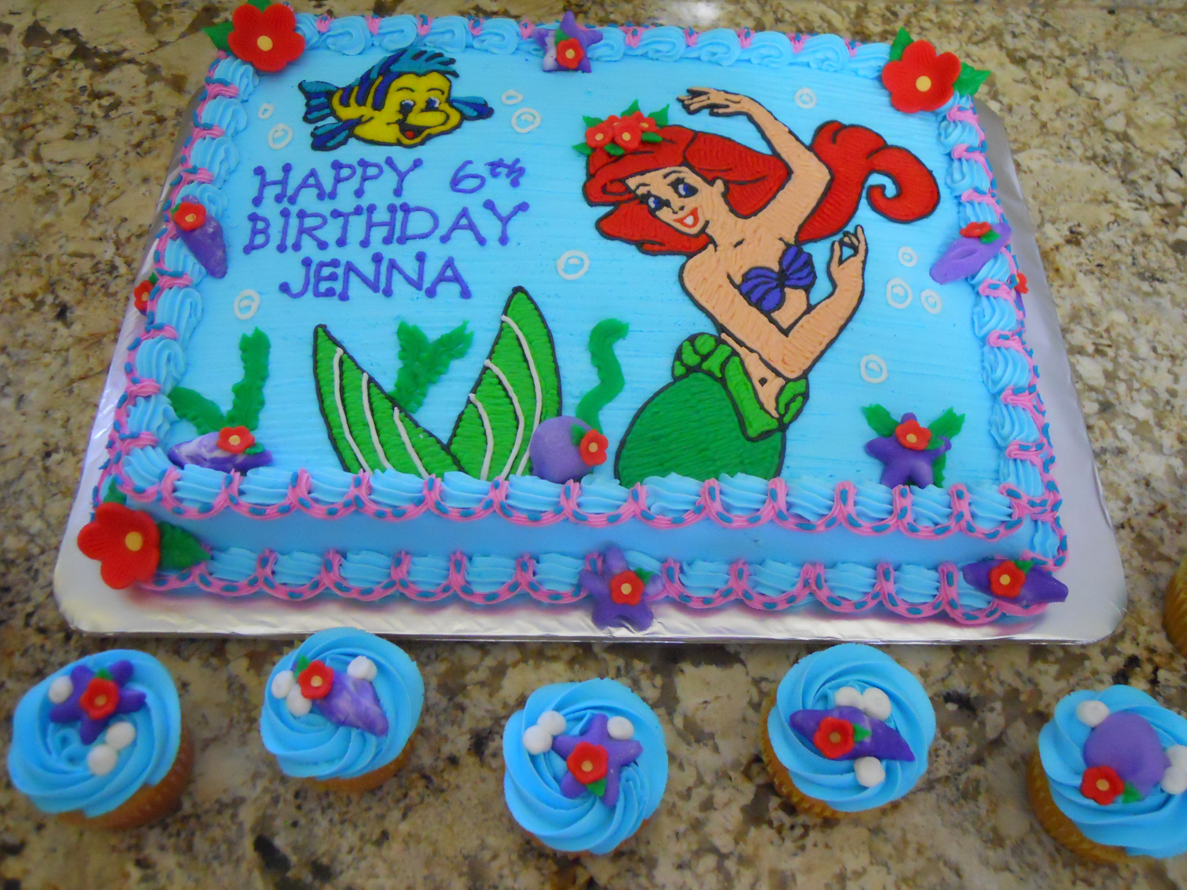 Ariel Sheet Cakes Little Mermaid Half Sheet Cake With Images