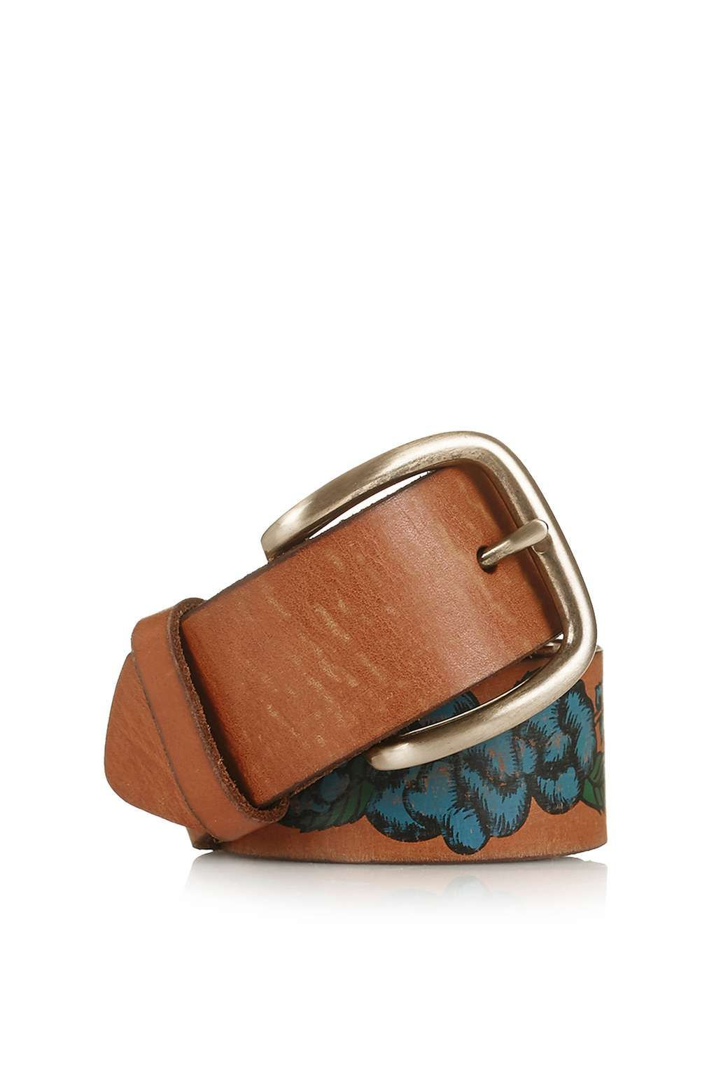 Leather Paint Flower Belt - Topshop