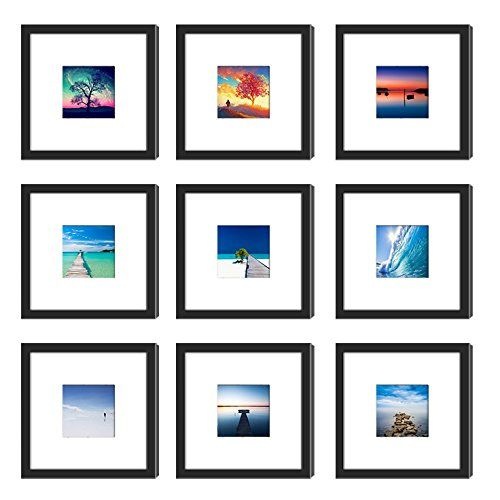 9pcs 8x8 Picture Frames Black With 2 Mats For 6x6 Or 4x4 Pictures