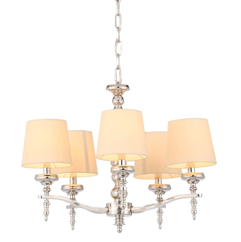 World Imports Jana Collection 5 Light Polished Nickel Chandelier 25766 Yow The Home Depot Polished Nickel Chandelier Light