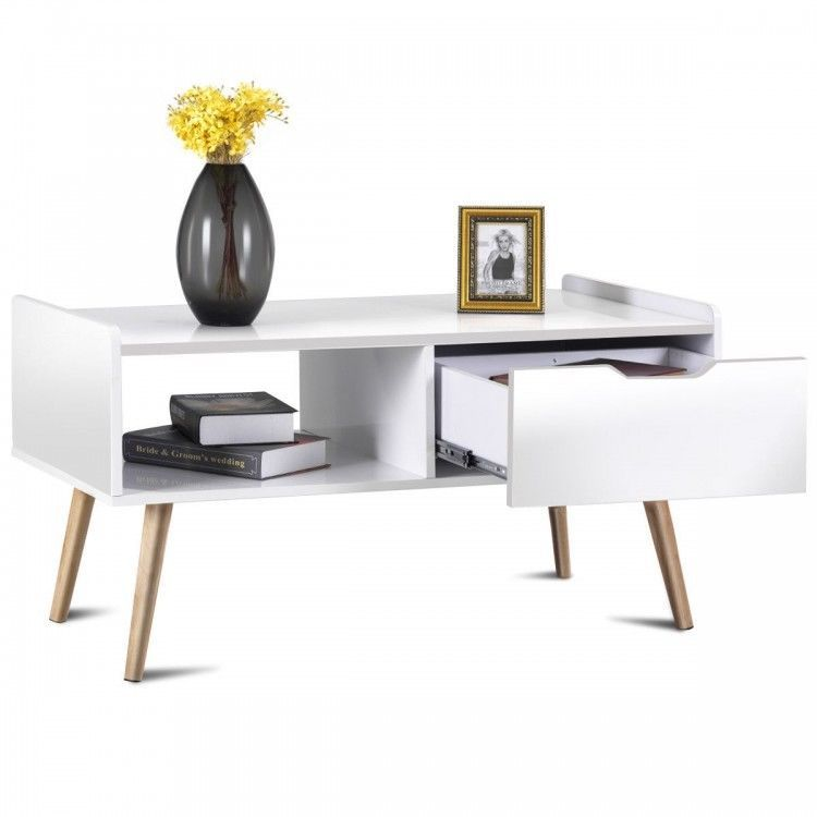White Functional Sy Retro Coffee Table With A Drawer And Shelf Terrific Living Room Furniture This Convenient Tab