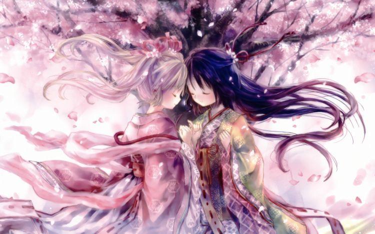 Filles Et Cerisiers En Fleurs Amis Fond D Ecran Anime Chibi Fleur De Cerisier