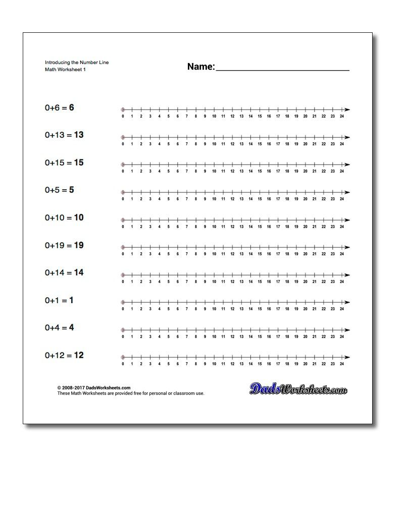 Introducing The Number Line Worksheet Preschool And