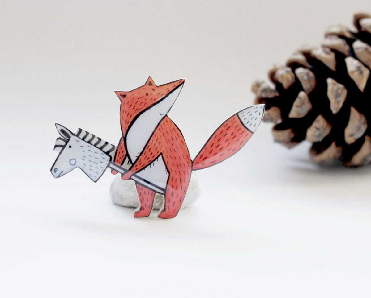 Free shipping Fox brooch pin, fox jewelry, animal brooch, woodland by Dinabijushop on Etsy