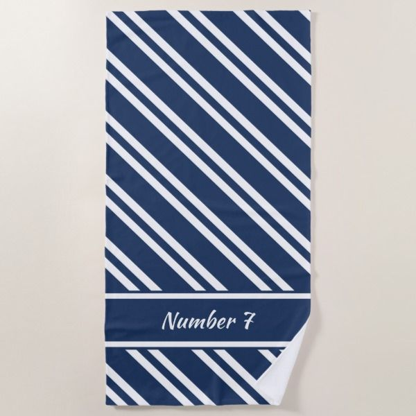Personalized Navy Blue And White Stripes Beach Towel Beach Towel